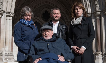 Noel Conway, 67, who suffers from motor neurone disease, with family members