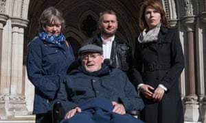 Noel Conway, who has motor neurone disease, outside the high court, where he is challenging the UK's ban on assisted dying.