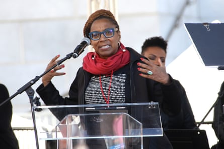 Crenshaw speaks at the Women's March in Los Angeles in January 2018