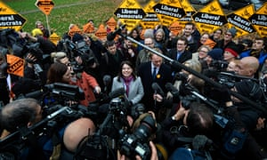 Sarah Olney being congratulated by Lib Dem leader Tim Farron after her win at Richmond Park.
