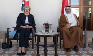 Theresa May is greeted by Prince Salman bin Hamad bin Isa Al Khalifa, the Crown Prince of Bahrain, during a bilateral meeting at the UK villa in Manama, Bahrain.