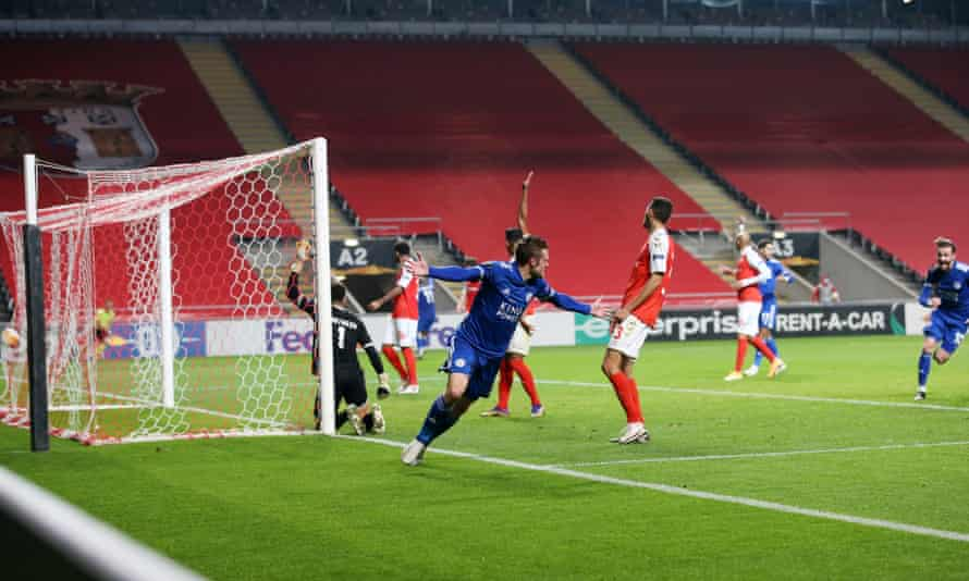 Jamie Vardy of Leicester wheels away after scoring to make it 3-3 deep into injury time at Braga in their Europa League group game.