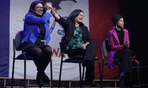 Rashida Tlaib, left, appears with Pramila Jayapal and Ilhan Omar in Clive, Iowa.