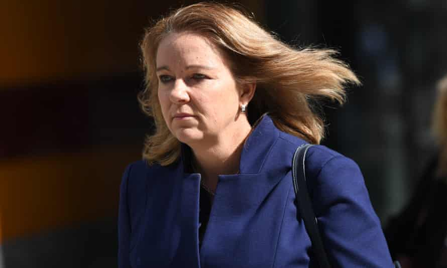 Linda Elkins, from the Commonwealth Bank's wealth management arm Colonial First State, leaves the banking services royal commission in Melbourne on Wednesday.