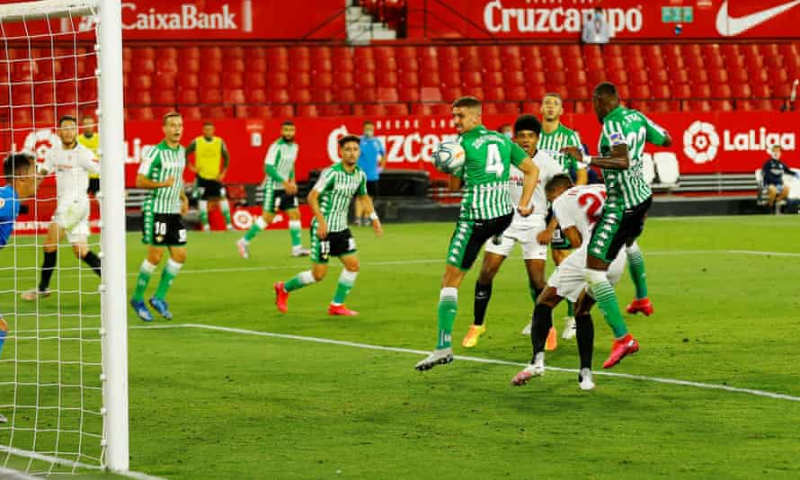 Fernando (far right) scores Sevilla's second goal in their 2-0 victory over Real Betis