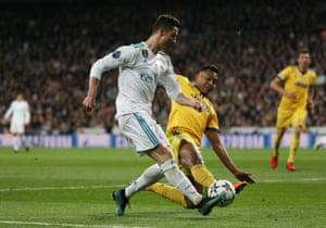 Ronaldo shoots, deflected wide.