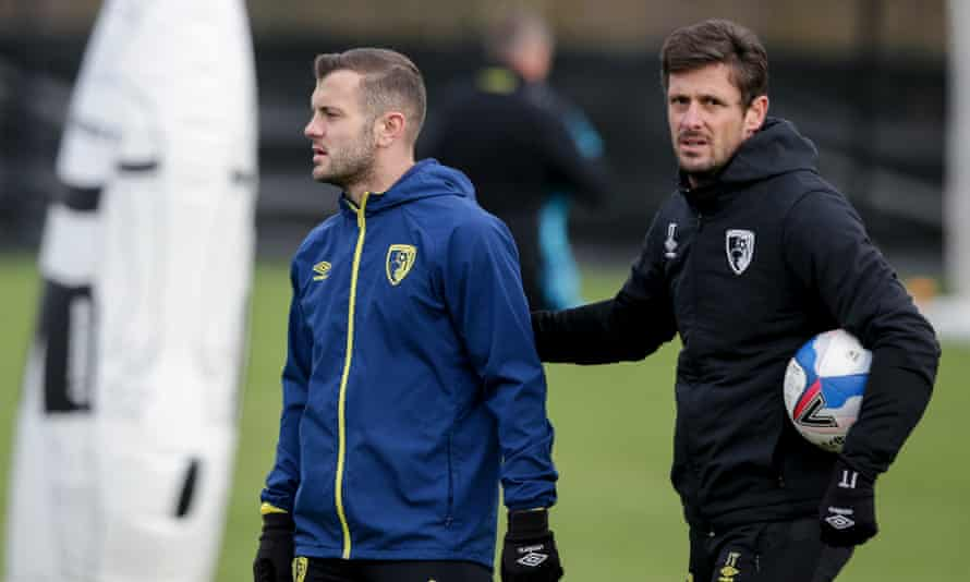 Jason Tindall (right) with his new signing Jack Wilshere.
