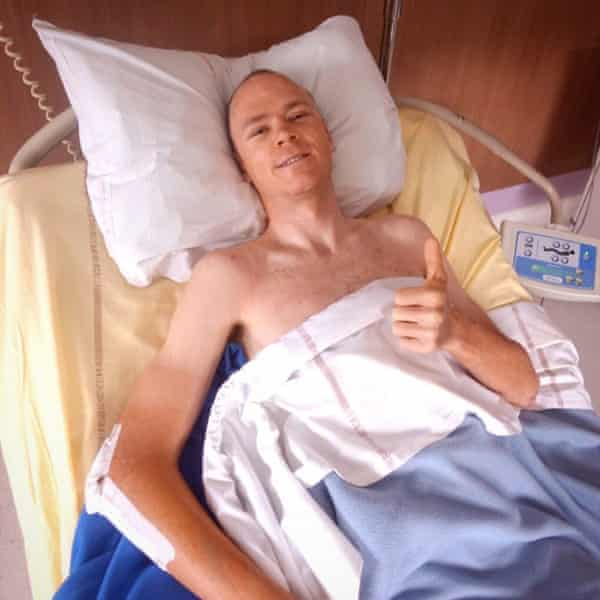 Chris Froome in a hospital bed after his serious crash while training in 2019.