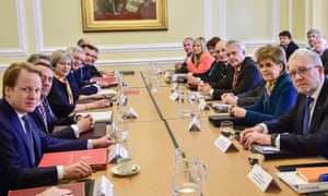 British Prime Minister Theresa May sits alongside members of her Cabinet as she prepares to chair a Joint Ministerial Committee at Cardiff City Hall in Cardiff. Also attending the talks were Outgoing Northern Ireland First Minister, Arlene Foster, Welsh First Minister Carwyn Jones, and Scotland's First Minister Nicola Sturgeon