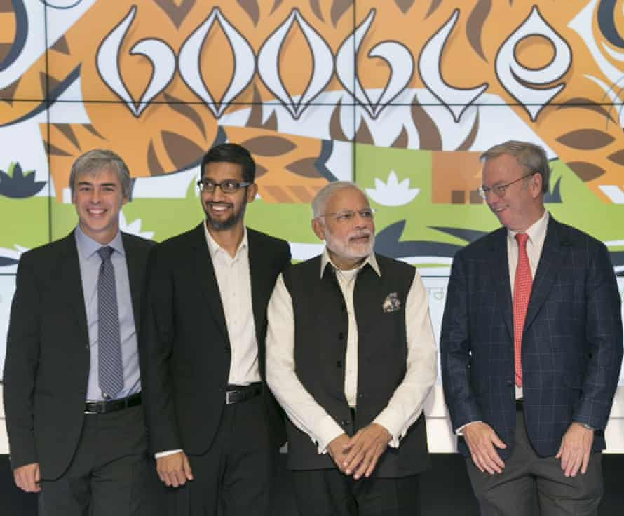 From left: Indian prime minister Narendra Modi with (from left) Google executives Larry Page, Sundar Pichai and Eric Schmidt