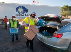 Cars line up for a Navajo Nation food bank donation in New Mexico.