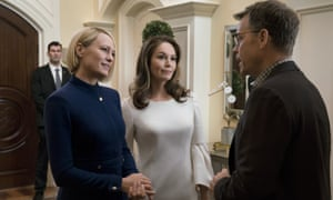 From left: Robin Wright, Diane Lane and Greg Kinnear in a scene from the final season of House of Cards.