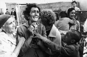 A Turkish Cypriot woman in in Ghaziveram, Cyprus, who has just learnt of the death of her husband killed during the Civil War in 1964