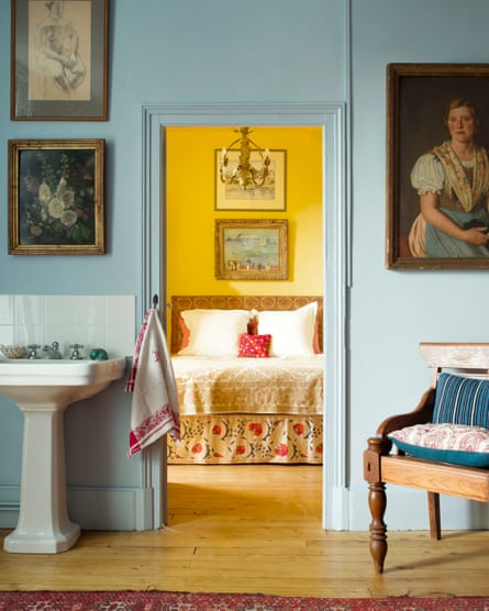 'There is a mathematical structure that creates order': a bedroom seen from the bathroom.