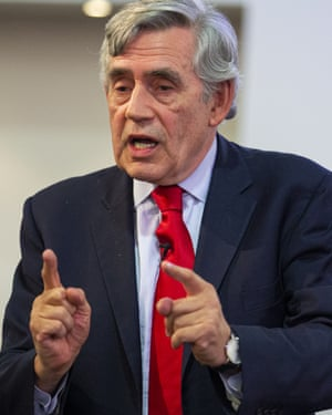 Former British prime minister Gordon Brown gives a speech.