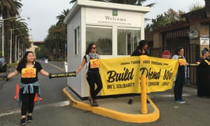 Protesters block the entrance to Urban Shield.