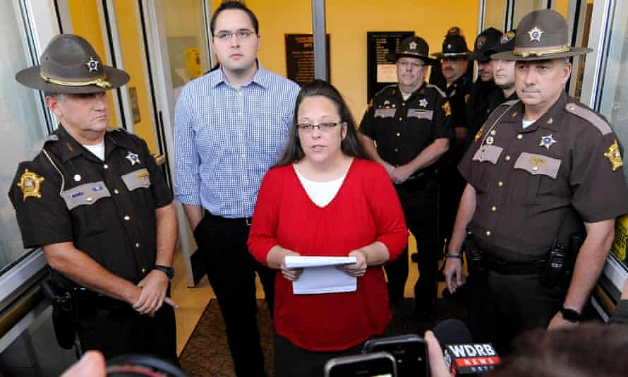 Kim Davis in 2015. A judge ordered her to issue the licenses. After refusing, she spent five days in jail.