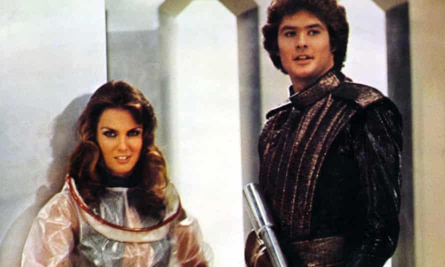 Caroline Munro and David Hasselhoff in Starcrash.