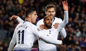 Lucas Moura celebrates with Fernando Llorente and Erik Lamela.