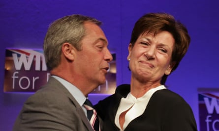 Nigel Farage with Diane James after she was elected to succeed him as Ukip leader in September.
