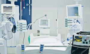 A bed in an intensive care unit