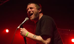 Jason Williamson of Sleaford Mods performs at Pontins in Prestatyn, Wales
