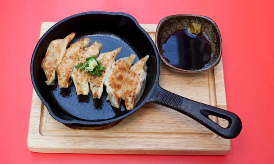 Crisp and silky: pork gyoza.