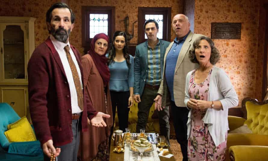 The cast of new film Alex & Eve: Simon Elrahi (Bassam), Helen Chebatte (Salwa), Andrea Demetriades (Eve), Richard Brancatisano (Alex), Tony Nikolakopoulos (George) and Zoe Carides (Chloe).