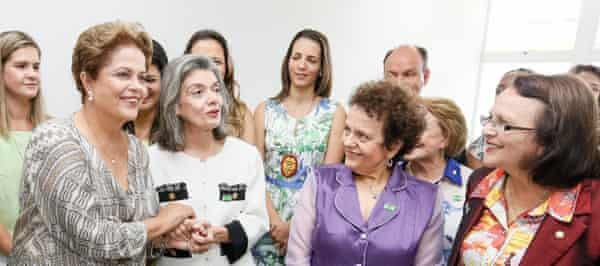 Left: former president Dilma Rouseff joins other Brazilian women ministers and politicians at the official opening of the Casa da Mulher Brasileira in Campo Grande on 31 March 2015.