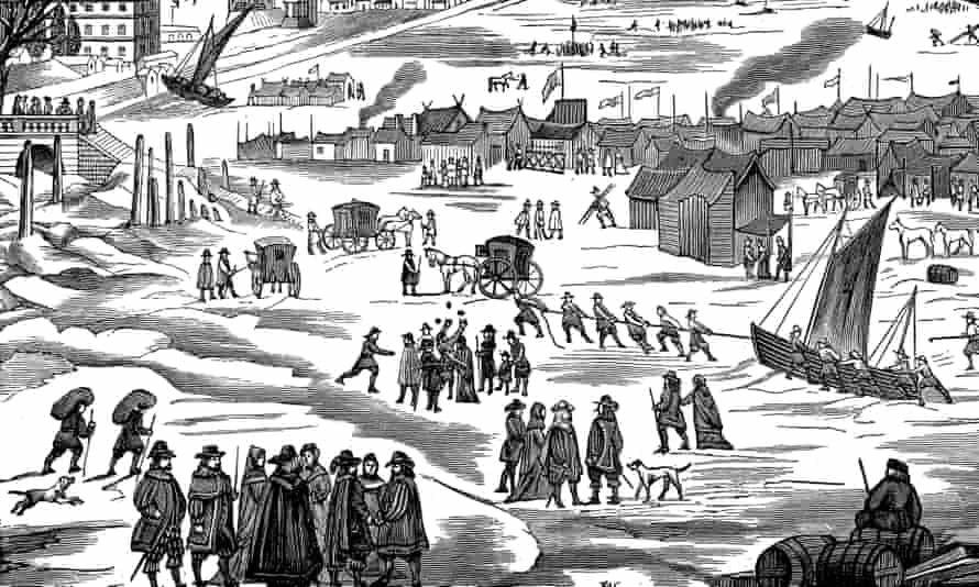 A depiction of a frost fair on the Thames in London during the 17th century.