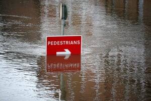 A footpath is flooded by the River Ouse in York
