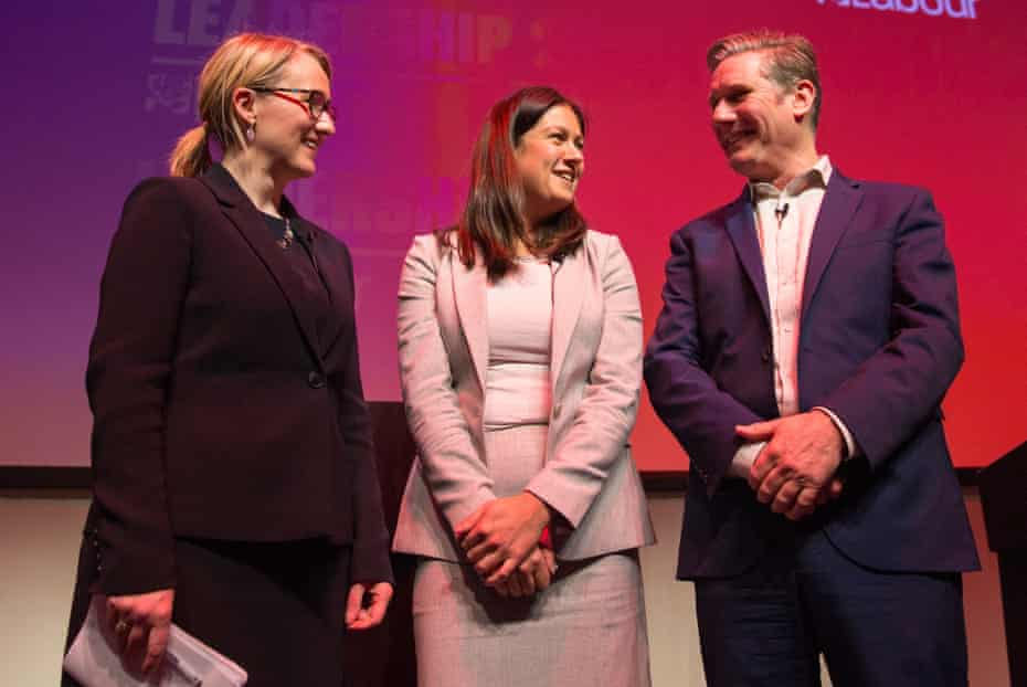 Starmer with leadership rivals Rebecca Long-Bailey, left, and Lisa Nandy, centre, at SEC in Glasgow in February.