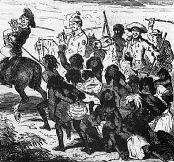 An illustration of the Myall Creek Massacre made 40 years after the event.