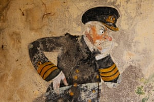 Faded caricature of naval officer