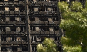 The burnt-out ruin of Grenfell Tower.