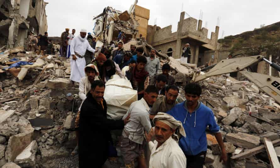 The aftermath of an airstrike in Sana''a, the Yemeni capital, on 25 August
