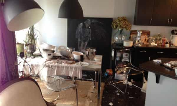 A house trashed by AirBnb tenants in Calgary.