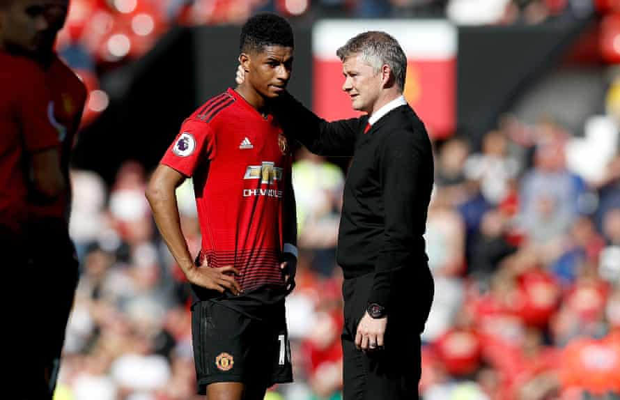 Marcus Rashford with Manchester United manager Ole Gunnar Solskjaer (right) after the final whistle during the Premier League match v Cardiff City at Old Trafford, Manchester, May 2019