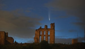 Neowise passes over Tynemouth priory in north east England