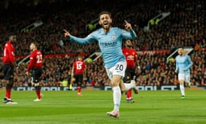 Manchester City's Bernardo Silva celebrates after scoring the opening goal of the game.