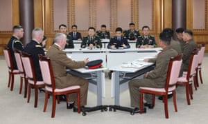 The US-led United Nations Command meets South Korean and North Korean delegations on the southern side of Panmunjom on Monday.