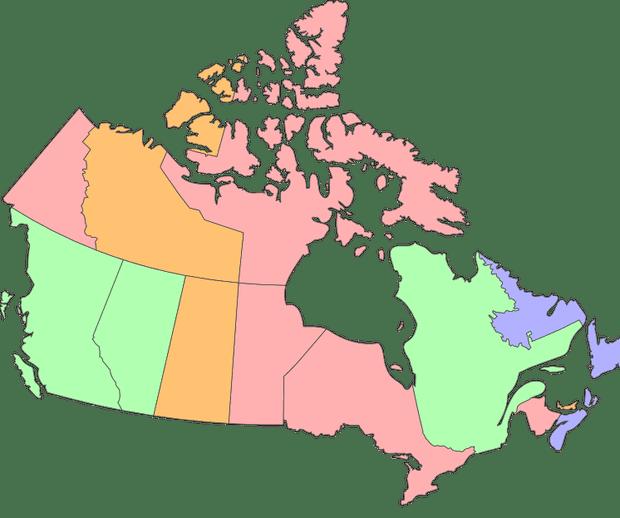 Canadian provinces carbon pricing map