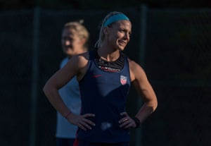Julie Ertz training with the USWNT in Faro this week.