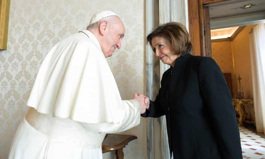Pope Francis with Nancy Pelosi on Saturday. The Vatican announced Pelosi's audience with the pope in its daily bulletin but gave no details.