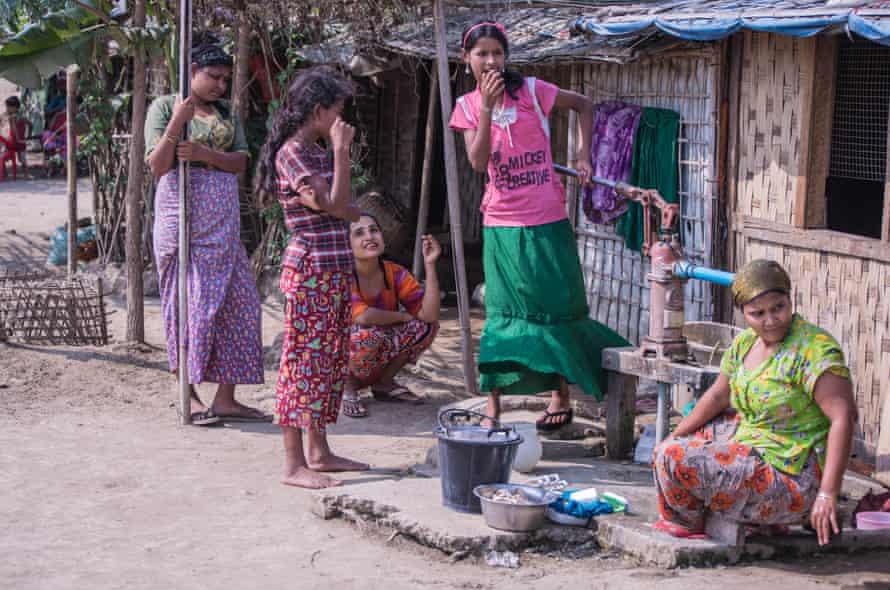 Rohingya women living in a camp for internally displaced people in Myanmar.