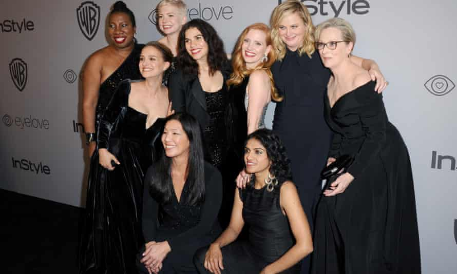 Hollywood stars at the Golden Globes wore black in protest at sexual abuse scandals