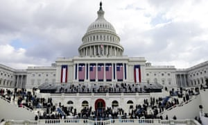Congressional members and guests arrive for the presidential inauguration at the US Capitol.