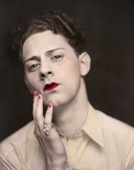 Man in makeup, 1920 … a colour-highlighted picture from a photo booth, United States, c.1920.