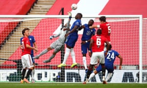 Caballero makes Maguire miss his header in the FA cup Semi Final between Manchester United and Chelsea at Wembley Stadium.