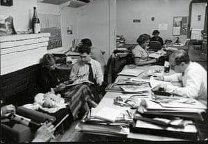 The magnum office on 64th Street with from left to right, Ellen Erwitt, Lucienne Erwitt, Elliott Erwitt, Olga Brodsky and Sheernah, 1953